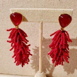Stella & Dot Riva Tassel Earrings -- Burgundy